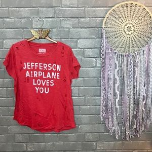 lucky brand x jefferson airplane // red band tee m